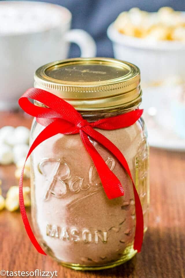 bulk hot chocolate powder mix in a mason jar