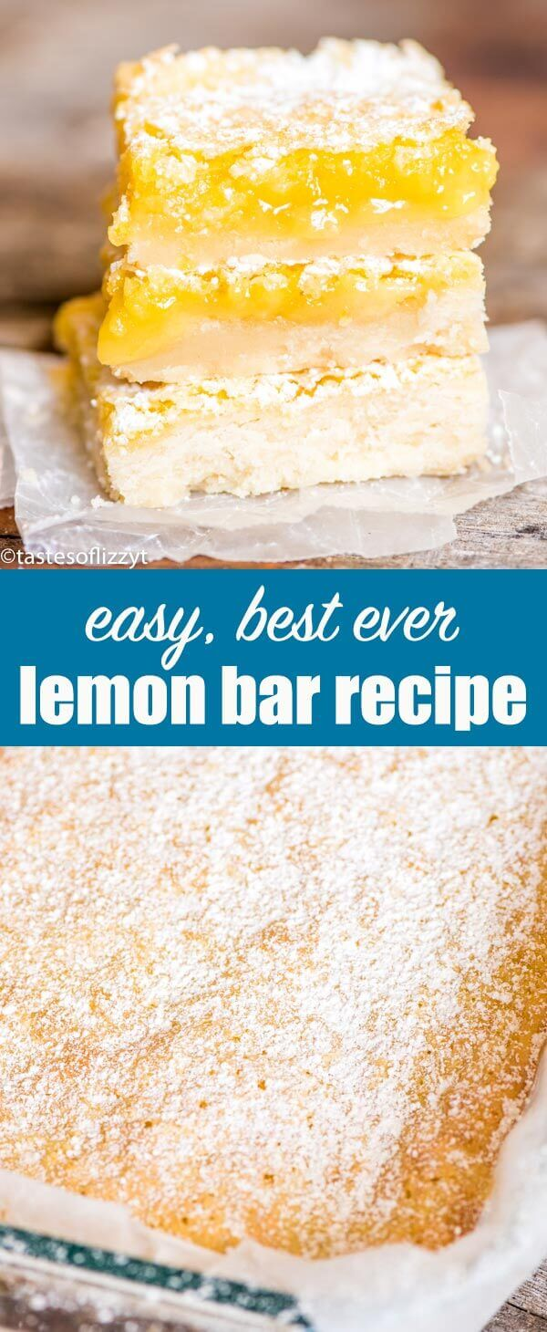 Bright, tangy lemon bars recipe with a shortbread crust and lemon custard filling. A simple powdered sugar dusting makes these fruit bars a classic! Lemon Bars Recipe {Easy Lemon Dessert with Shortbread Crust} #lemon #dessert