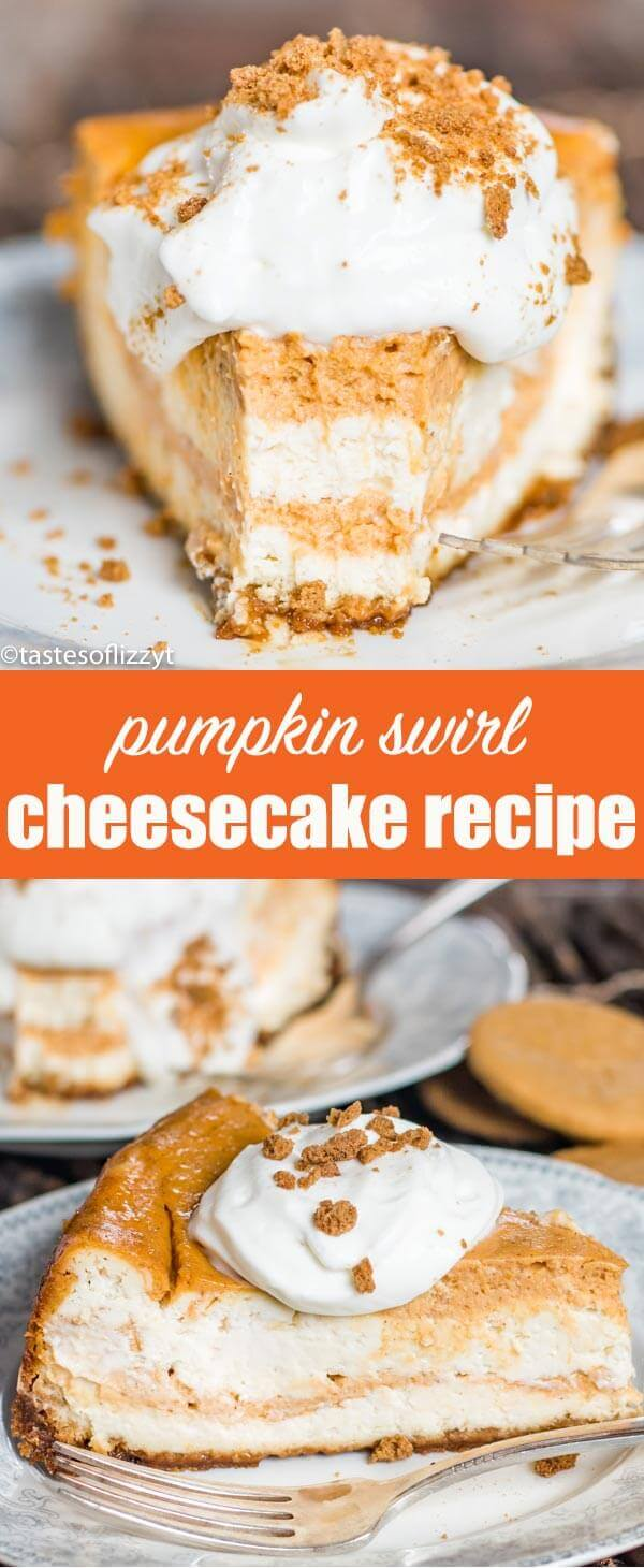 Pumpkin Swirl Cheesecake Recipe {with Gingersnap Cookie Crust} Treat your holiday guests to this Pumpkin Swirl Cheesecake recipe with gingersnap crust! A make ahead dessert perfect for entertaining.
