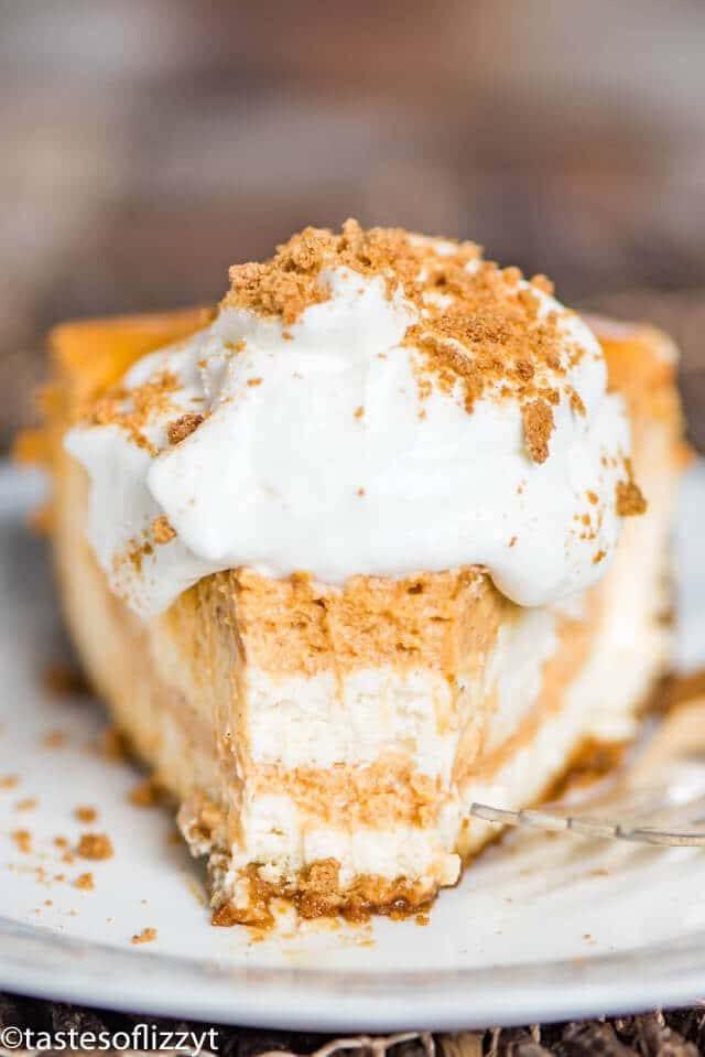 slice of homemade pumpkin swirl cheesecake
