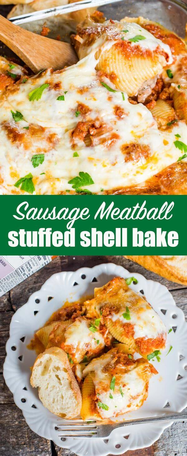 Seasoned Italian sweet sausage and beef mix together and fill these Sausage Stuffed Shells. Top with sauce and cheese for an easy Italian casserole! #italian #sausage #casserole