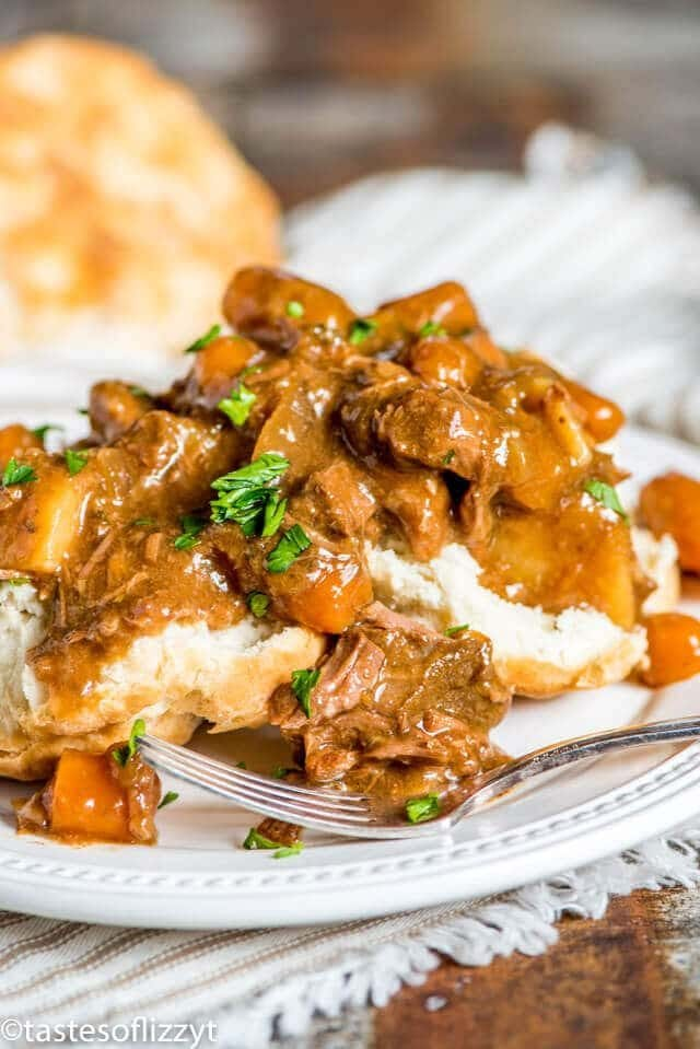 beef stew served over biscuits