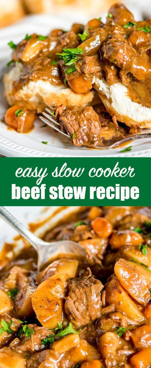 If you've been looking for the best beef stew recipe, try this Slow Cooker Beef Stew packed with potatoes and carrots. Delicious served over homemade biscuits!