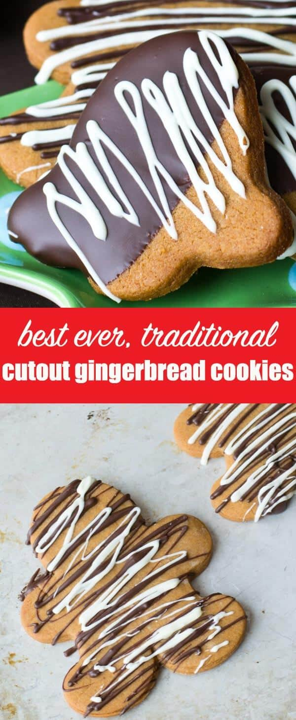 This chocolate dipped gingerbread cookie recipe is our go-to favorite for gingerbread cut-out cookies and gingerbread houses. #gingerbread #cookies #gingerbreadhouses #gingerbreadmen
