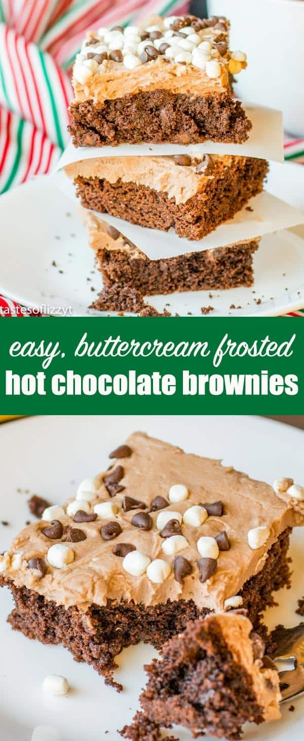 These Hot Chocolate Brownies start with the simplicity of a cake mix, but the homemade hot cocoa buttercream make them stand out! #brownies #cakemix #chocolate #hotchocolate #hotcocoa