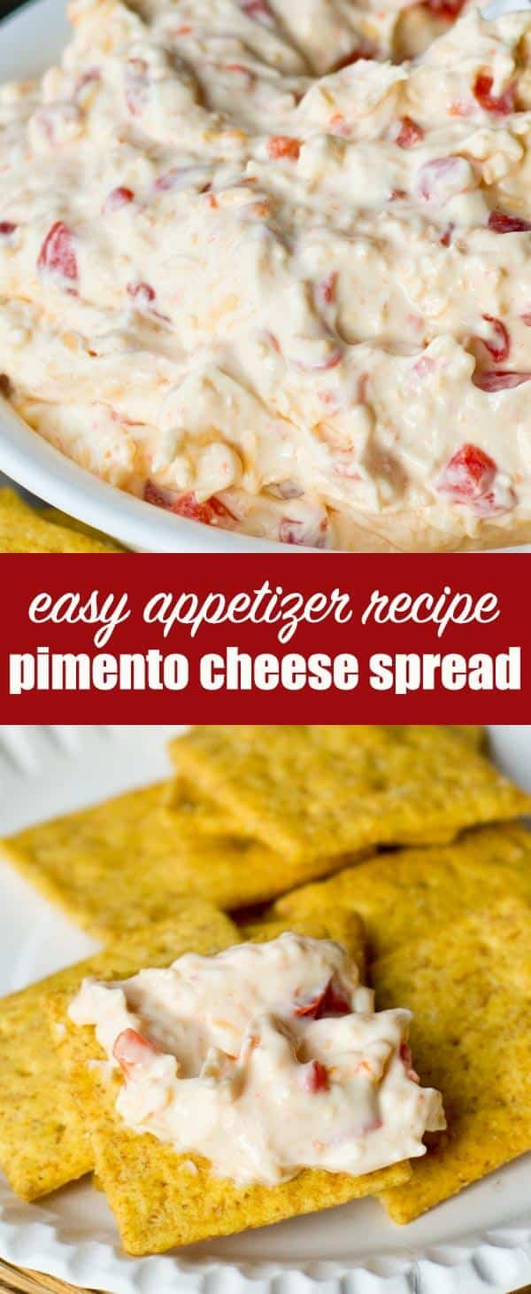 This Pimento Cheese Dip is the perfect appetizer and party food. Serve with crackers or veggies or as a side dish to your favorite soup! #pimentocheese #cheesedip #cheesespread #appetizer