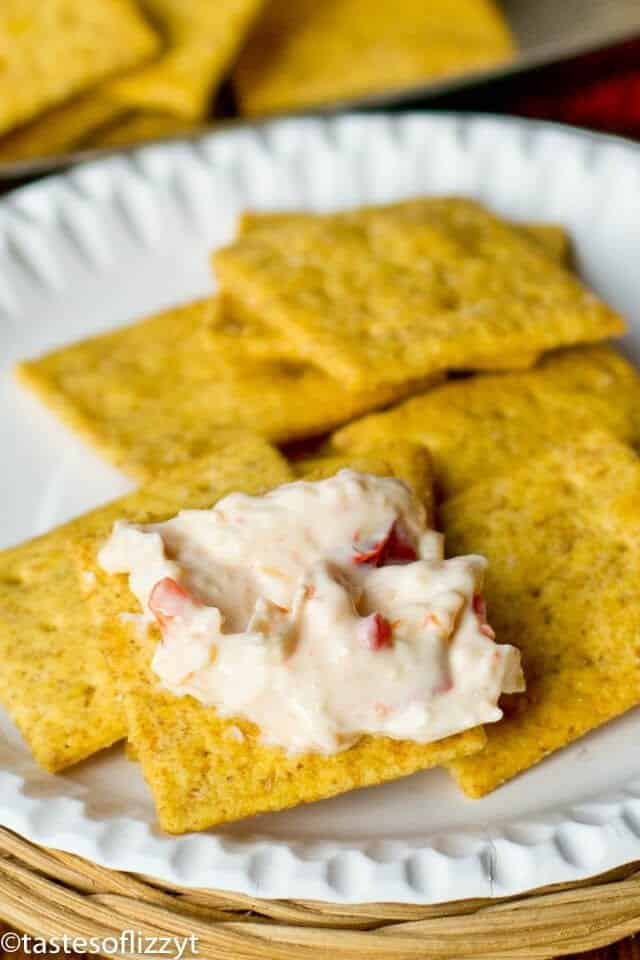 pimento cheese on crackers