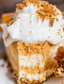 closeup of a piece of pumpkin swirl cheesecake