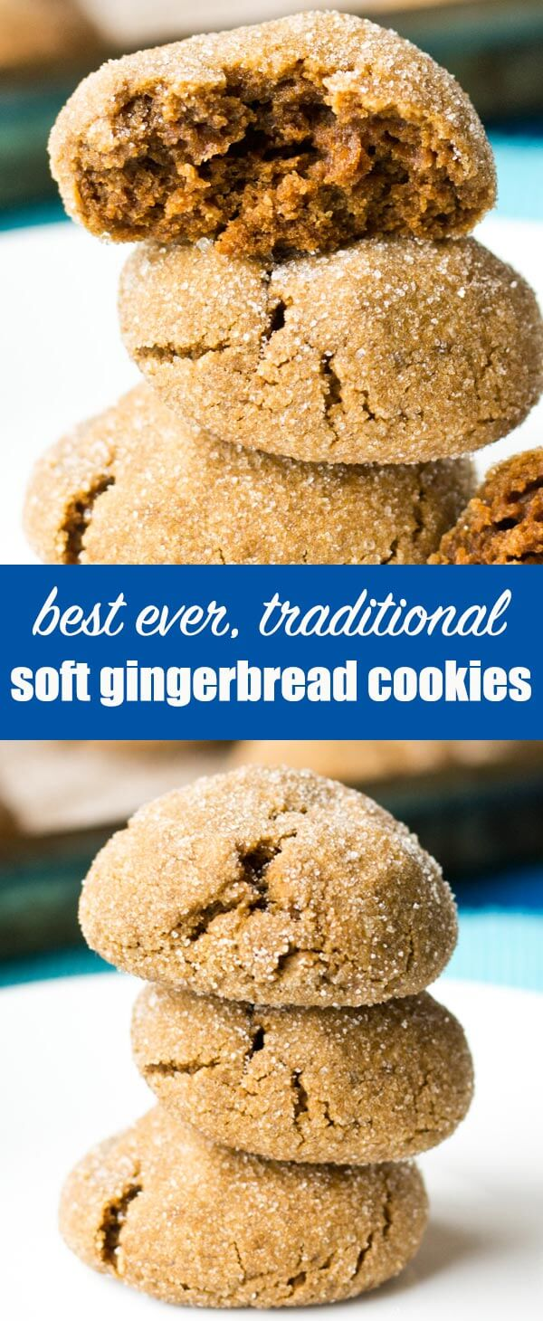 Soft Gingerbread Cookies have the taste of gingerbread cookies, but are soft and thick. Roll the dough balls in sugar for the perfect sweetness! #christmas #gingerbread #molasses #cookies