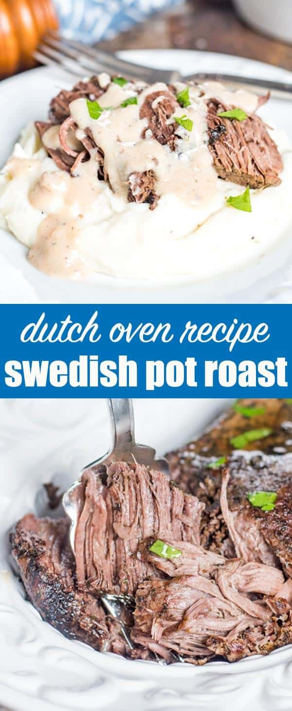 If you love Swedish meatballs, try this easy dutch oven Swedish pot roast recipe with creamy gravy. Serve over mashed potatoes for the ultimate comfort food. #dutchoven #potroast #beef #gravy #comfortfood