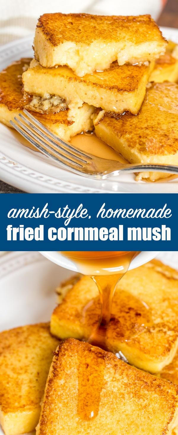 What to do with leftover cornmeal mush? Make this Amish style, homemade fried mush recipe, a delicious alternative to pancakes or waffles. Serve with maple syrup for a lightly sweet breakfast treat. #friedpolenta #polenta #cornmeal #mush #breakfast