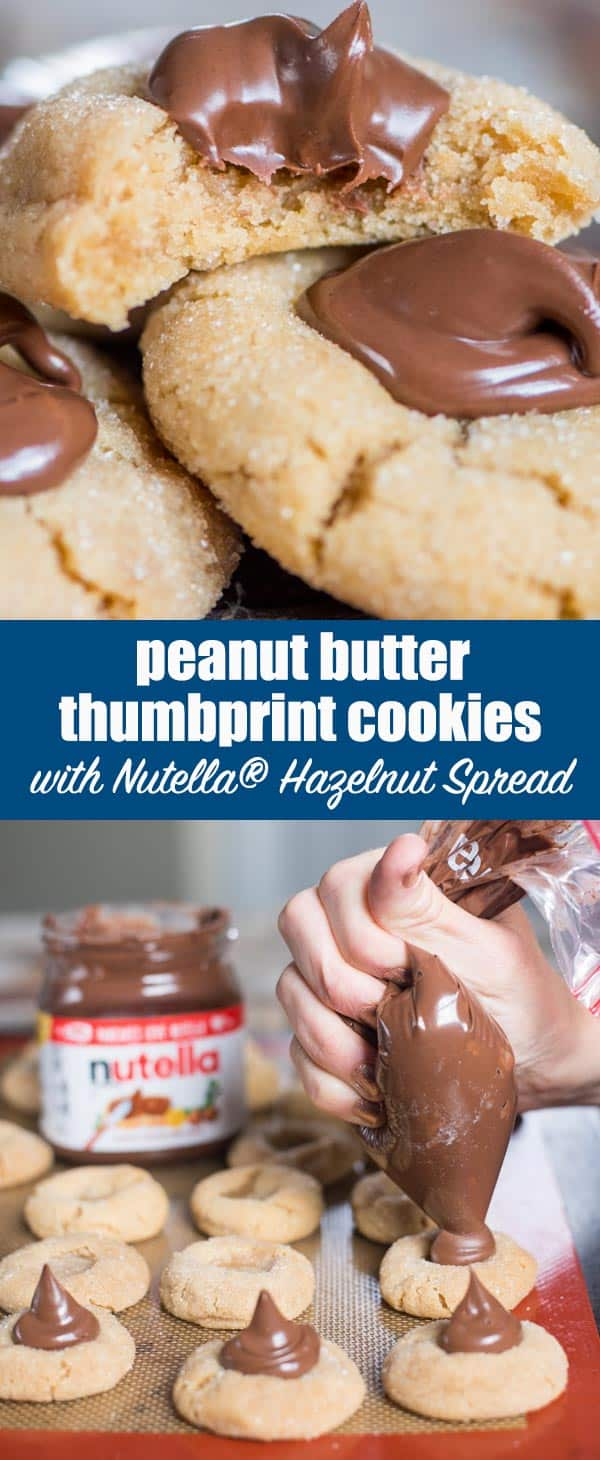 What's better than a peanut butter cookie with Nutella® hazelnut spread on top?! These easy and fantastic Peanut Butter Thumbprint Cookies with Nutella® Hazelnut Spread are sure to be a hit in your home this Christmas.