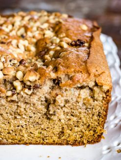 close up of banana bread