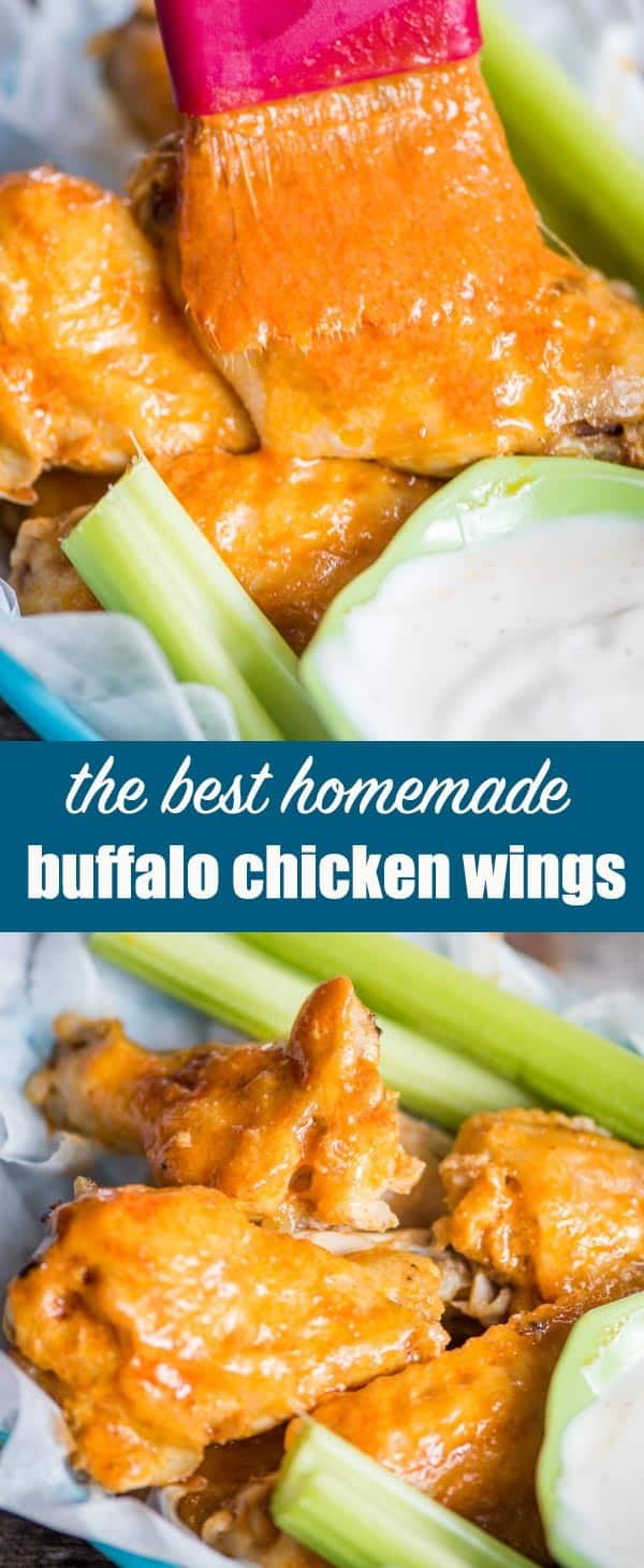 The ultimate game day party food... Buffalo Wings! Learn tips for making buffalo wings at home. This baked wing recipe results in fork-tender chicken wings with a melt-in-your-mouth, from-scratch buffalo sauce. #buffalowings #bakedwings #chickenwings #buffalosauce