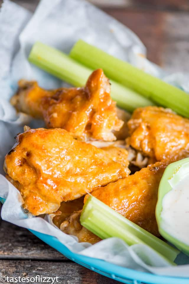 A close up of buffalo chicken wings