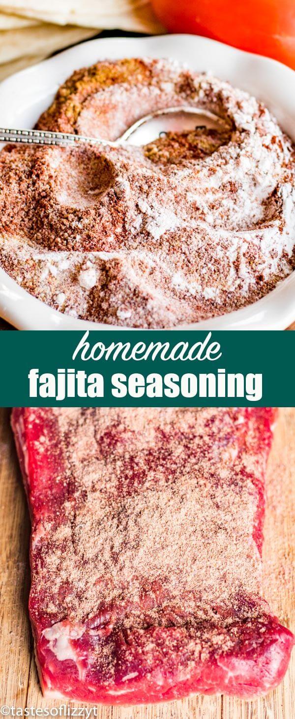 Making fajitas and don't have seasoning? Make this homemade fajita seasoning to season chicken, beef or pork.#fajitas #mexican #seasoning #beef