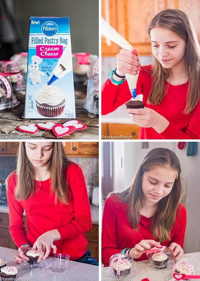 collage of girl making cupcakes