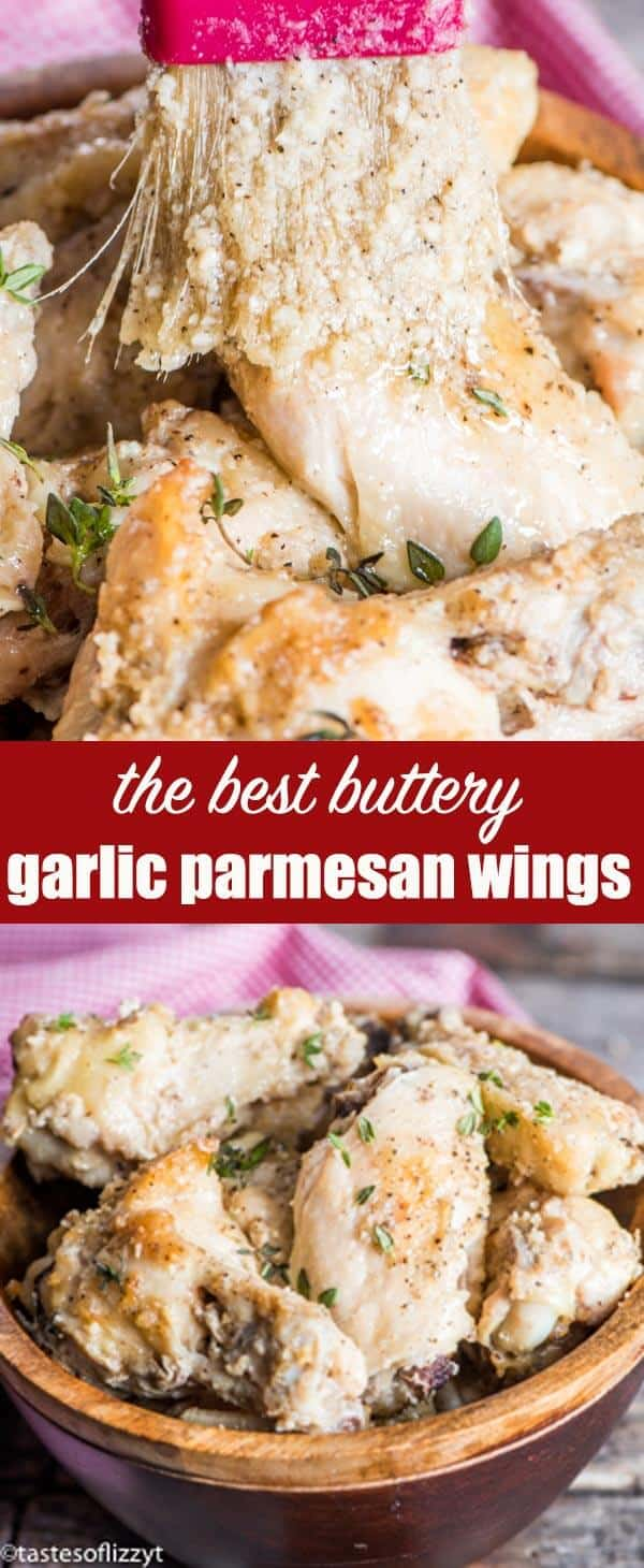 Easy baked chicken wings with buttery garlic parmesan sauce. These Garlic Parmesan Wings are a Buffalo Wild Wings copycat recipe that your family will love! #chickenwings #bakedwings #garlic #parmesan #butter #sauce #wings