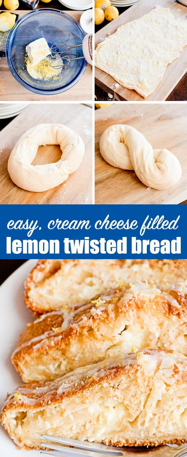 Transform traditional crescent rolls into a lemon and cream cheese filled, flaky breakfast treat. This semi-homemade Lemon Twist Bread has a streusel topping and lemon glaze. #lemon #twistbread #crescentrolls #breakfast