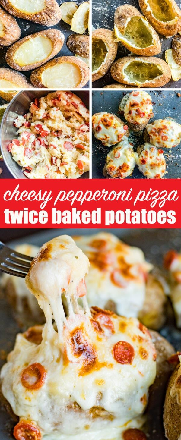 Looking for a new way to get that unbeatable pizza flavor? Try these Pizza Twice Baked Potatoes stuffed with two cheeses, pepperoni and classic garlic Italian seasonings. A gluten free way to enjoy pizza!
