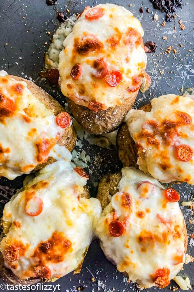 stuffed baked potatoes with cheese and pepperoni