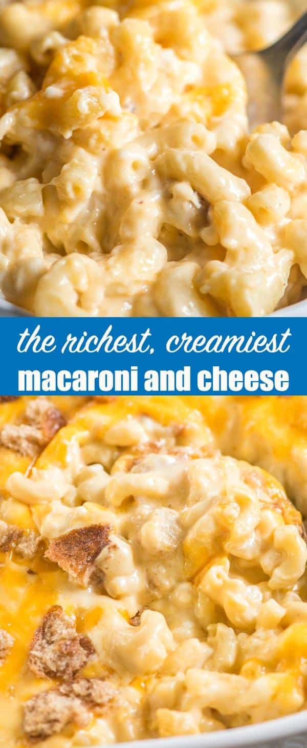 Cottage cheese, sour cream and Velveeta come together to make the richest, creamy macaroni and cheese. You'll love the cheddar cheese and crispy bread crumb topping!