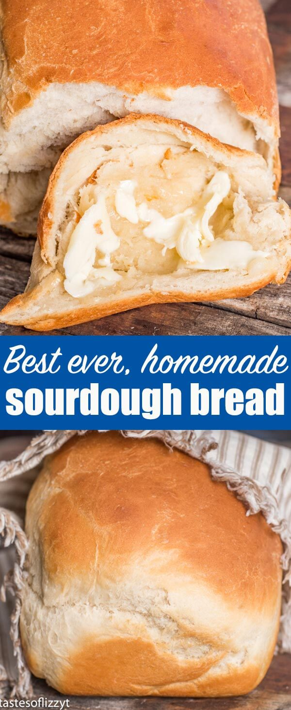 The best homemade bread! Soft, chewy sourdough bread with a beautiful golden brown crust. This easy homemade bread recipe makes two loaves and is the perfect white sandwich bread.#sourdough #breadrecipe #homemadebread #whitebread