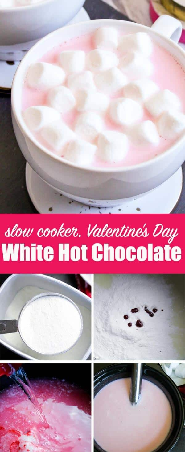 Get cozy on Valentine's Day with this pink White Hot Chocolate that you can make quickly and easily in your slow cooker! Jazz up a hot chocolate mix to make it extra creamy. Add coloring of your choice to fit the holiday or special occasion you are celebrating. #valentinesday #hotchocolate #whitechocolate