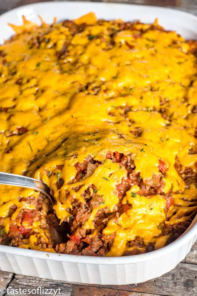 johnny marzetti casserole in a baking dish