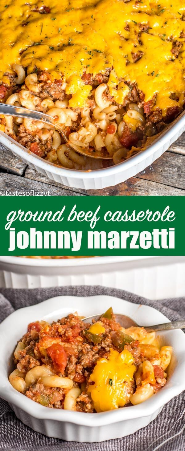 This easy Johnny Marzetti casserole is a traditional Ohio recipe that is a great make-ahead casserole for potlucks because it serves a crowd! This ground beef and sausage casserole is full of noodles, cheese and Italian flavor.