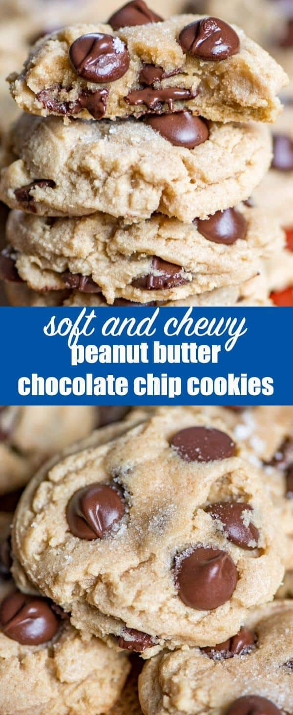 Ultra soft and chewy peanut butter chocolate chip cookies. These easy peanut butter cookies stay soft for days and freeze well. Add chocolate chips, white chocolate chips or even butterscotch chips to this cookie recipe.