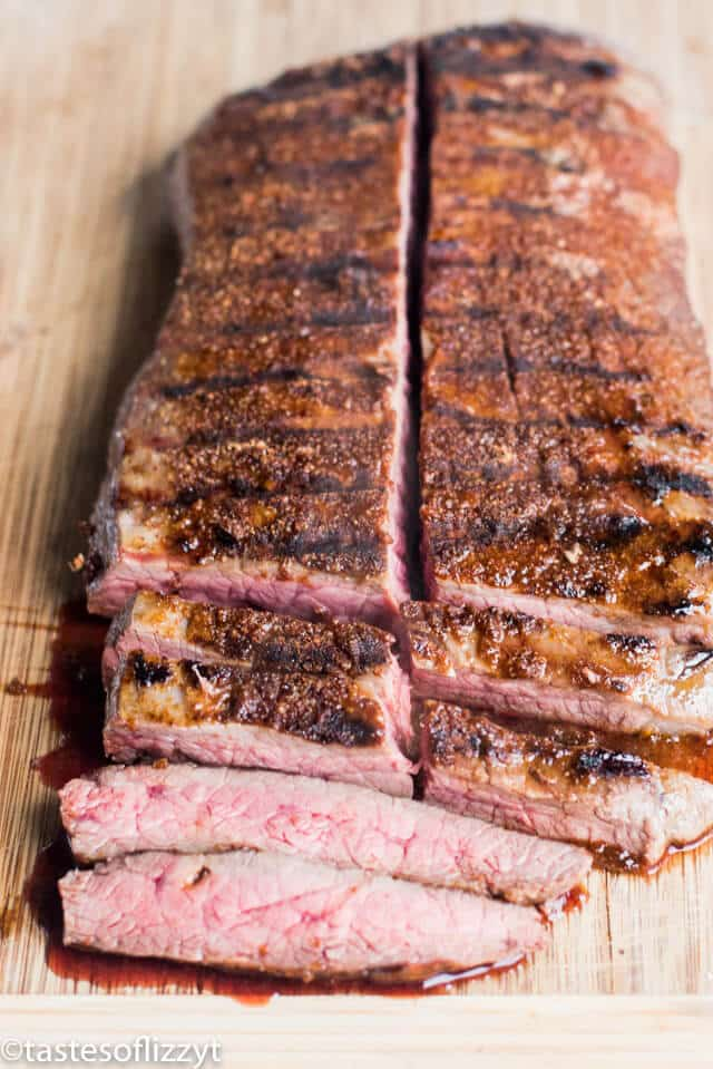 A piece of steak on a cutting board