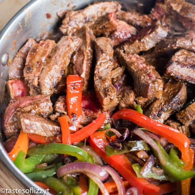 steak and peppers