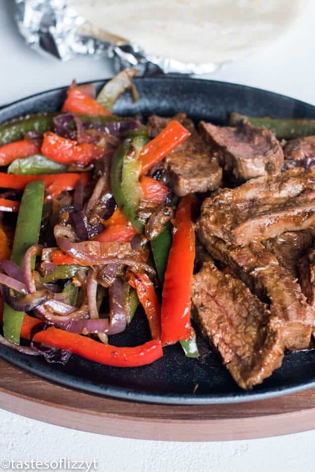 skillet with beef and peppers