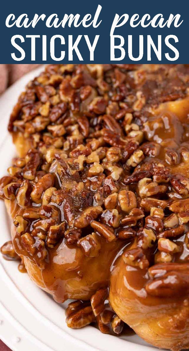From scratch Caramel Pecan Sticky Buns baked in a skillet make a sweet breakfast treat. You'll love the caramel topping that bakes in the bottom of the pan, but when flipped, becomes the topping! via @tastesoflizzyt