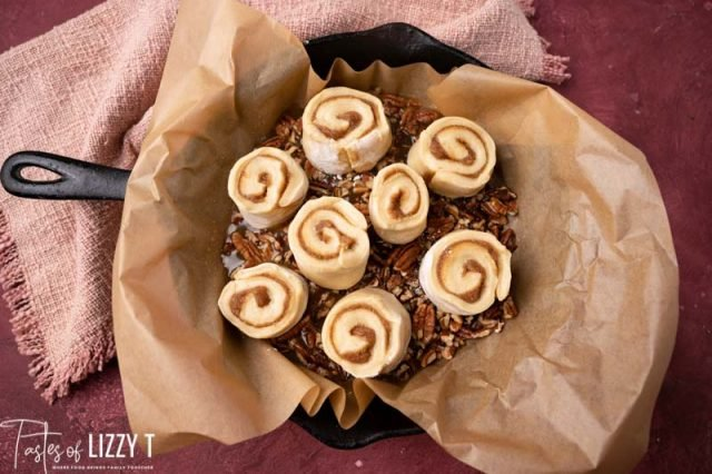unbaked sticky buns in pan