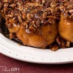 closeup of plate of pecan sticky buns