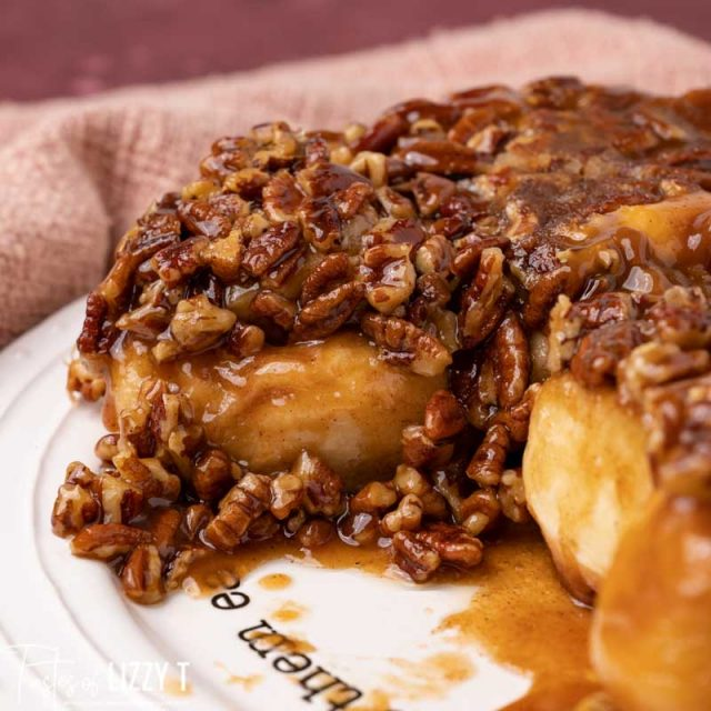 closeup of pecan loaded sticky buns