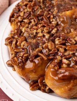 caramel pecan sticky buns on a plate