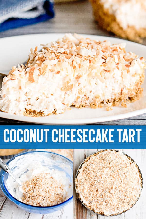 With a graham cracker crust and toasted coconut topping, this Coconut Cheesecake Tart makes an easy dessert! Cream cheese and whipped topping make a light, creamy cheesecake.