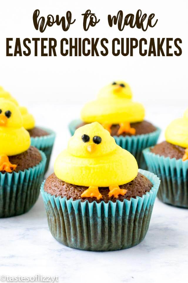 A complete tutorial on how to make cute Easter chicks cupcakes for your spring party! Baby chicks are piped onto vegan chocolate cupcakes for a cute kids craft.