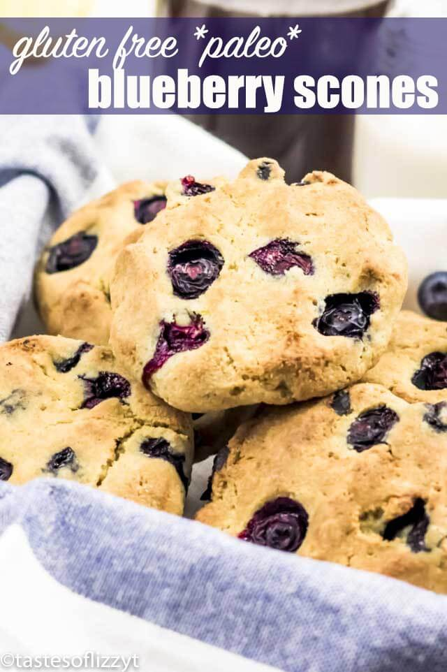 Breakfast never looked so good...or made you feel so good! Low Carb Gluten Free Blueberry Scones have fresh blueberries and a hint of lemon. This recipe uses almond flour which also makes them fit the paleo diet!#glutenfree #paleo #lowcarb #scones #blueberries