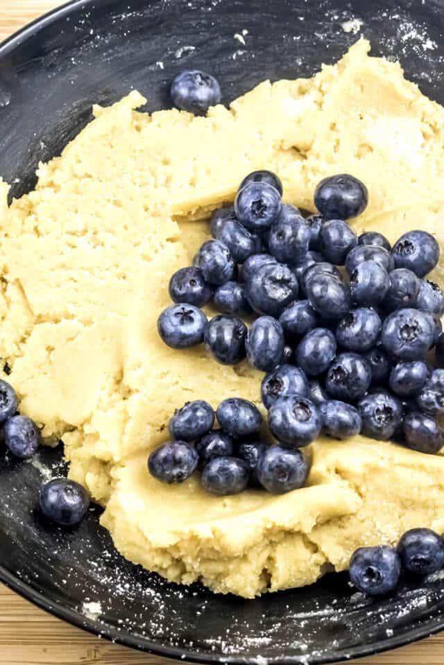gluten free scone dough with blueberries