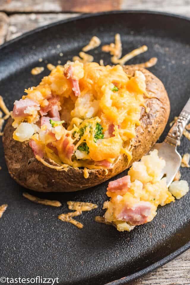 ham and cheese stuffed potatoes