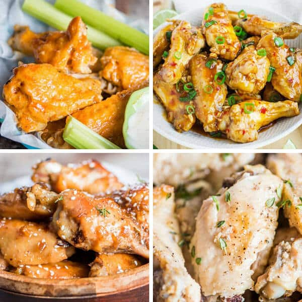 collage of 4 types of chicken wings