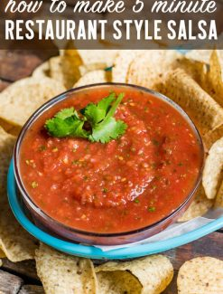 In just 5 minutes you can whip up THE BEST easy restaurant style salsa. Adjust the smoothness and amount of spice to your liking. Serve over your favorite Mexican dinners