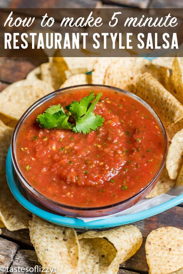 In just 5 minutes you can whip up THE BEST easy restaurant style salsa. Adjust the smoothness and amount of spice to your liking. Serve over your favorite Mexican dinners. #salsa #jalapeno #recipe #mexican #tomato #sidedish #chipsandsalsa