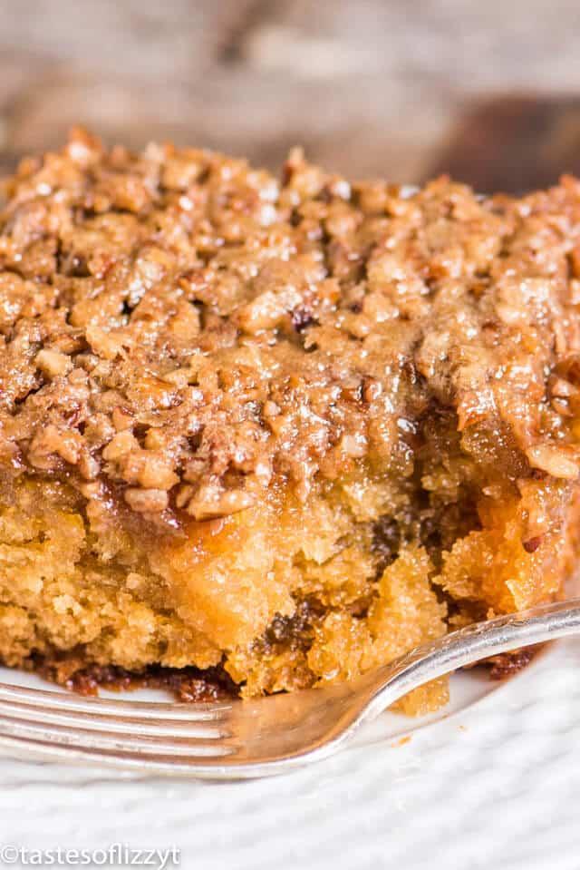 walnut breakfast cake on a plate