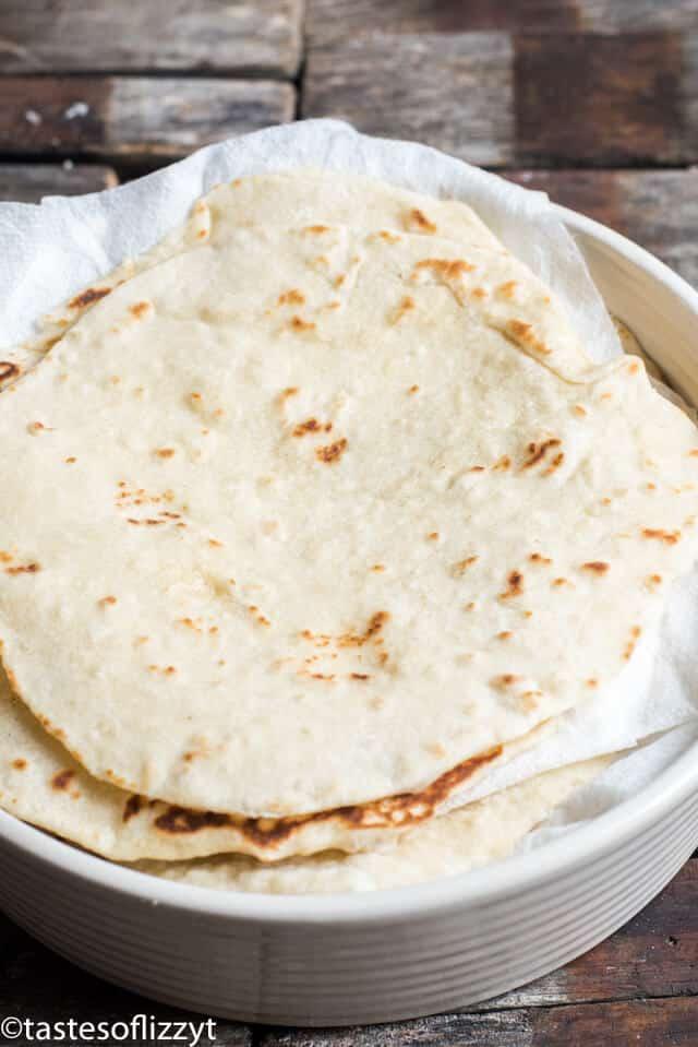 homemade flour tortillas in a stack
