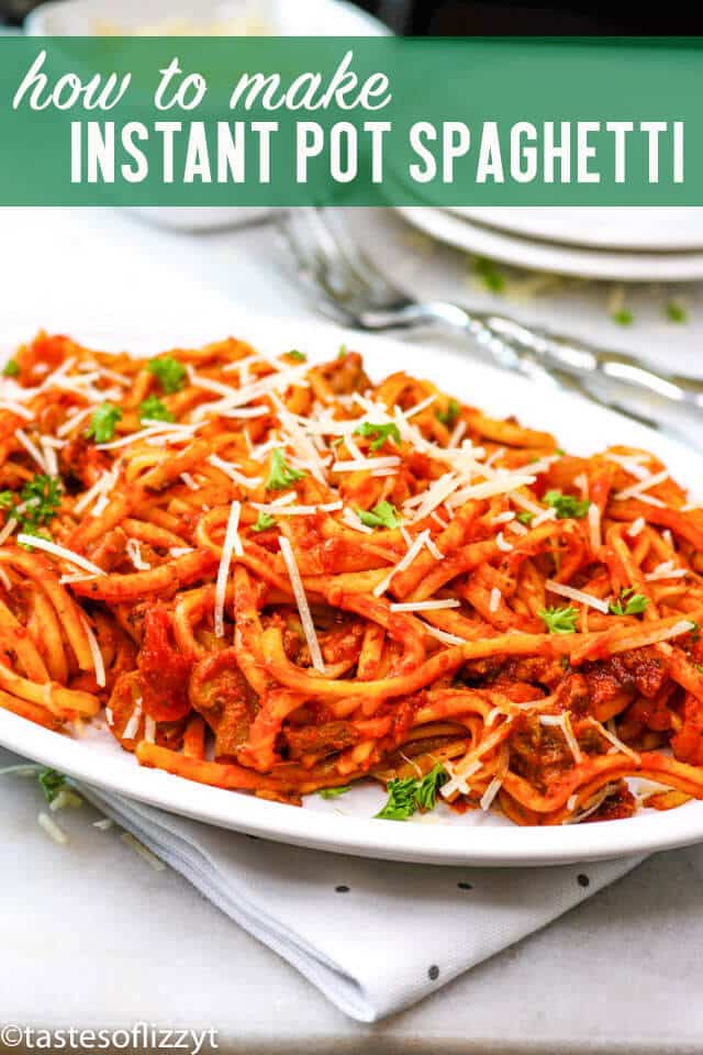 An easy, 1 pot homemade meat sauce cooks together with this spaghetti for a quick dinner. This Instant Pot Spaghetti is a great last-minute dinner idea. Serve with salad and garlic bread for a complete meal. #instantpot #spaghetti #maindish #italian #beef #pasta